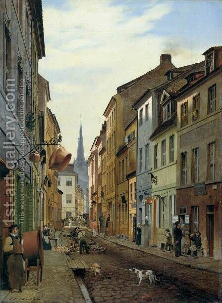 The Parochialstrasse in Berlin by Eduard Gaertner - Reproduction Oil Painting
