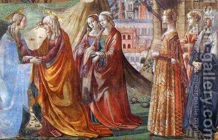 Visitation (detail) by Domenico Ghirlandaio - Reproduction Oil Painting