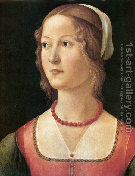 Portrait of a Young Woman by Domenico Ghirlandaio - Reproduction Oil Painting