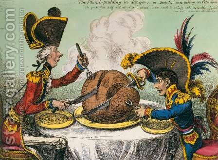 The Plum-Pudding in Danger 3 by James Gillray - Reproduction Oil Painting