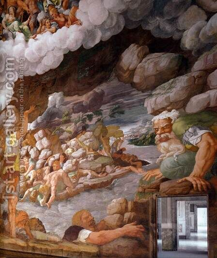 Fresco on the south wall (detail) 3 by Giulio Romano (Orbetto) - Reproduction Oil Painting