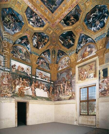 View of the Sala di Psyche (north and east walls) by Giulio Romano (Orbetto) - Reproduction Oil Painting