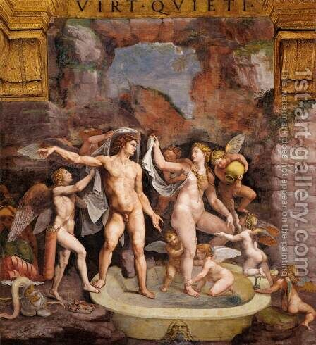 Venus and Mars Bathing by Giulio Romano (Orbetto) - Reproduction Oil Painting