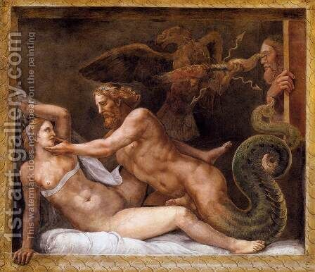 Jupiter Seducing Olympias by Giulio Romano (Orbetto) - Reproduction Oil Painting