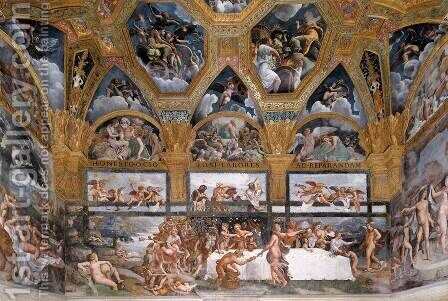 View of the Sala di Psyche (east wall) by Giulio Romano (Orbetto) - Reproduction Oil Painting
