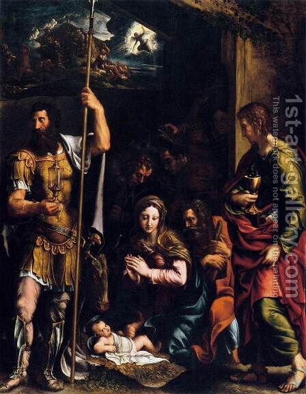 Adoration of the Shepherds by Giulio Romano (Orbetto) - Reproduction Oil Painting