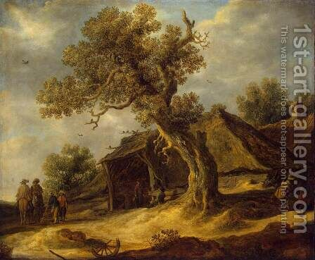 Landscape with Oak by Jan van Goyen - Reproduction Oil Painting