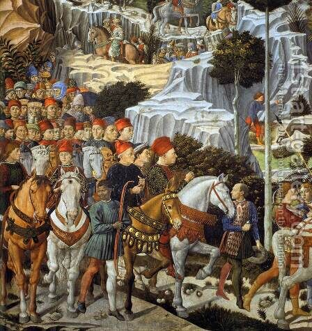 Procession of the Youngest King (detail) by Benozzo di Lese di Sandro Gozzoli - Reproduction Oil Painting