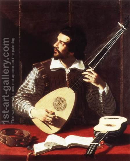The Theorbo Player 2 by Antiveduto Gramatica - Reproduction Oil Painting