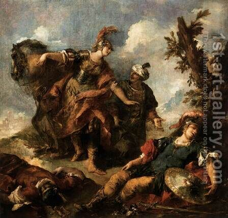 Herminia and Vaprino Find the Wounded Tancred by Giovanni Antonio Guardi - Reproduction Oil Painting