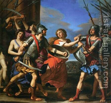 Hersilia Separating Romulus and Tatius by Guercino - Reproduction Oil Painting