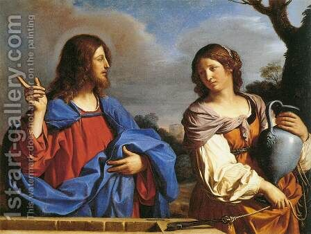 Jesus and the Samaritan Woman at the Well by Guercino - Reproduction Oil Painting