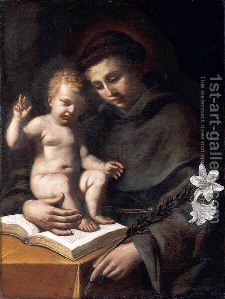 St Anthony of Padua with the Infant Christ by Guercino - Reproduction Oil Painting