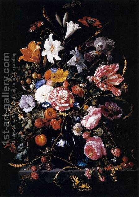 Vase with Flowers by Jan Davidsz. De Heem - Reproduction Oil Painting