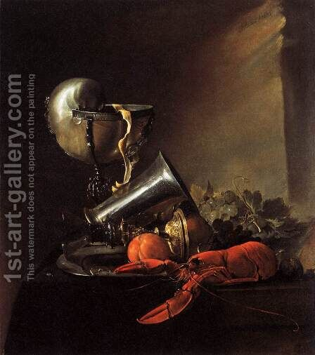 Still-Life with Lobster and Nautilus Cup by Jan Davidsz. De Heem - Reproduction Oil Painting