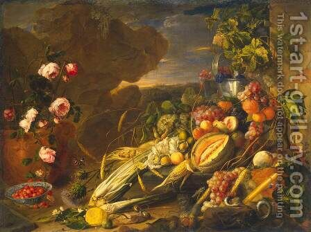 Fruit and a Vase of Flowers by Jan Davidsz. De Heem - Reproduction Oil Painting