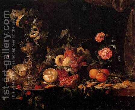 Still-Life with Flowers and Fruit by Jan Davidsz. De Heem - Reproduction Oil Painting