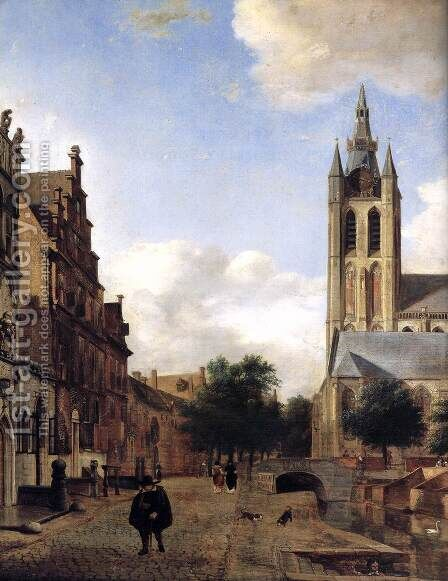 The Oude Kerk on the Oude Delft in Delft (detail) by Jan Van Der Heyden - Reproduction Oil Painting
