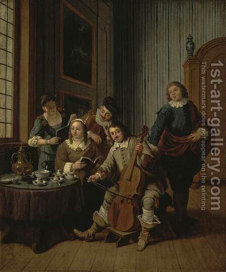 Lesson of Singing by Jan Jozef, the Younger Horemans - Reproduction Oil Painting