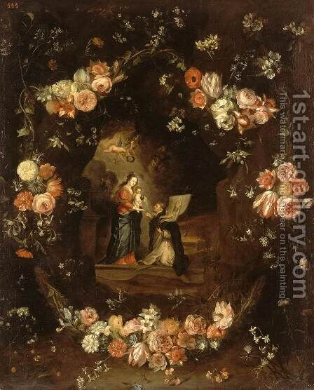 Madonna with the Child and St Ildephonsus Framed with a Garland of Flowers by Jan van Kessel - Reproduction Oil Painting