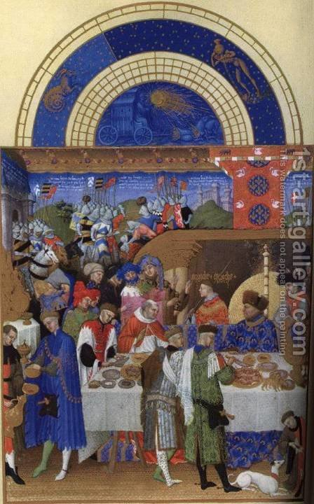 Les tres riches heures du Duc de Berry Janvier (January) by Harry J. Pearson - Reproduction Oil Painting
