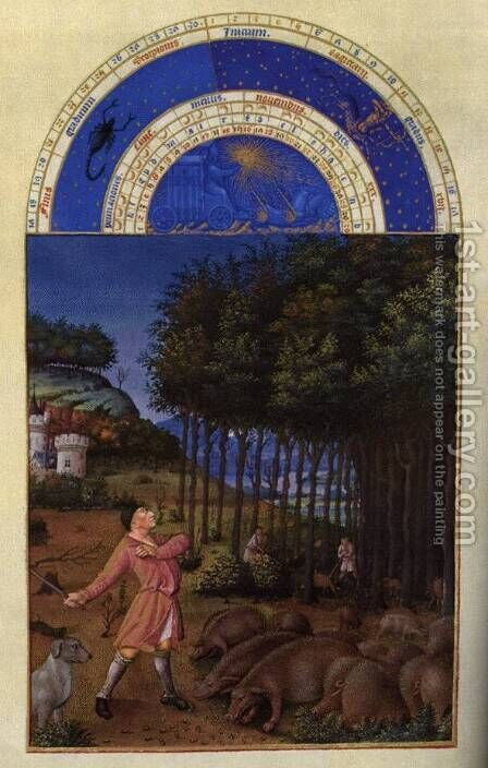 Les tres riches heures du Duc de Berry Novembre (November) by Harry J. Pearson - Reproduction Oil Painting