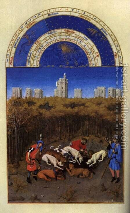 Les tres riches heures du Duc de Berry Decembre (December) by Harry J. Pearson - Reproduction Oil Painting
