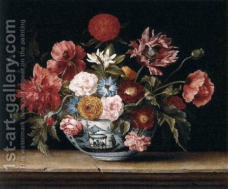 Chinese Bowl with Flowers by Jacques Linard - Reproduction Oil Painting