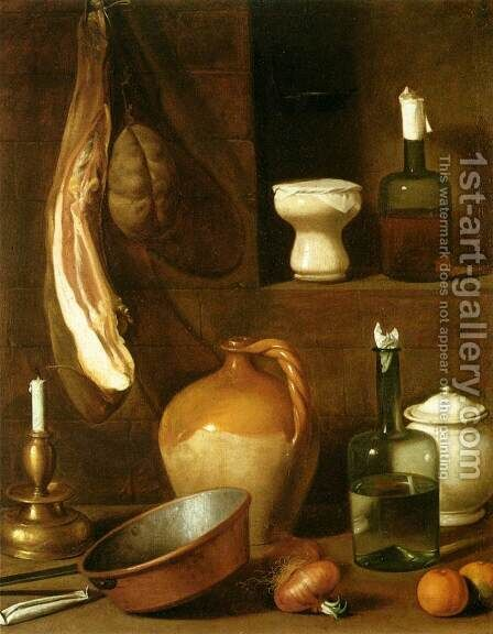 Still-Life with Ham by Carlo Magini - Reproduction Oil Painting
