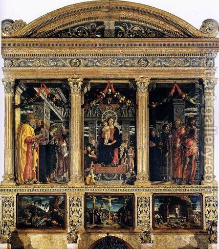 The San Zeno Polyptych 2 by Andrea Mantegna - Reproduction Oil Painting