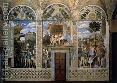 The west wall The Meeting by Andrea Mantegna - Reproduction Oil Painting