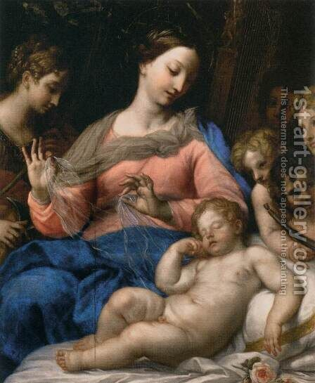 The Sleep of the Infant Jesus, with Musician Angels by Carlo Maratti - Reproduction Oil Painting