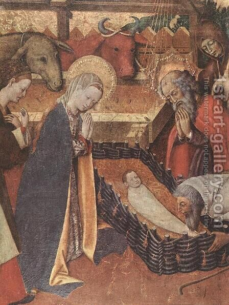 The Nativity (detail) by Bernat (Bernardo) Martorell - Reproduction Oil Painting