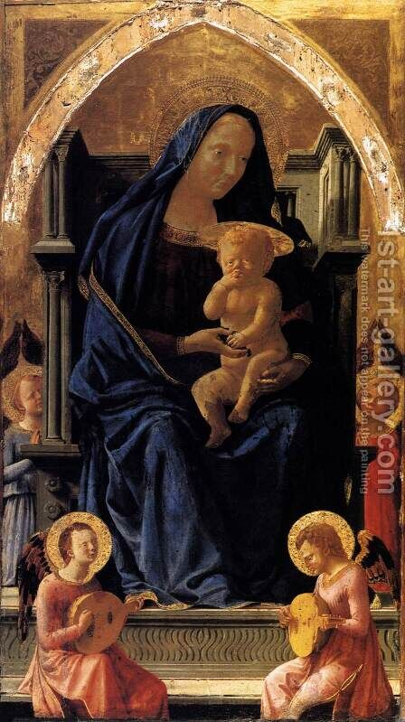 Madonna with Child and Angels by Masaccio (Tommaso di Giovanni) - Reproduction Oil Painting