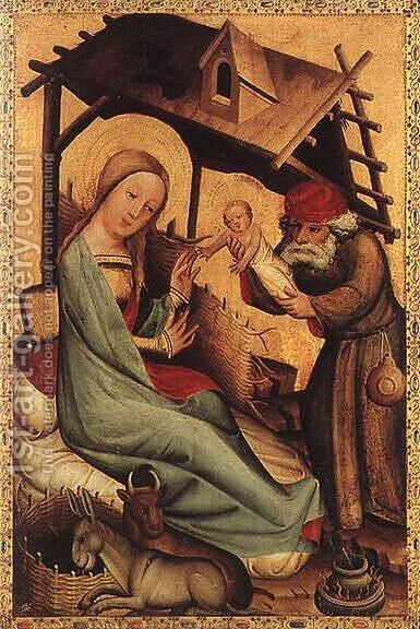 Nativity, panel from Grabow Altarpiece by (Master of Minden) Bertram - Reproduction Oil Painting