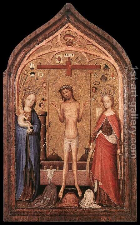 The Man of Sorrow with the Virgin and St Catherine 2 by Master of Saint Veronica - Reproduction Oil Painting