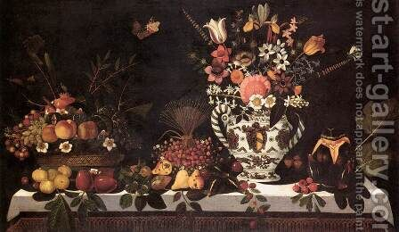 Fruit Still-Life with a Vase of Flowers by Master of the Hartford Still-life - Reproduction Oil Painting