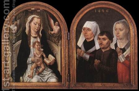 Diptych with the Virgin and Child and Three Donors 2 by Master of the Legend of St. Ursula - Reproduction Oil Painting