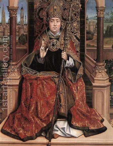 St Nicholas Altarpiece (central panel) 2 by Master of the Saint Lucy Legend - Reproduction Oil Painting