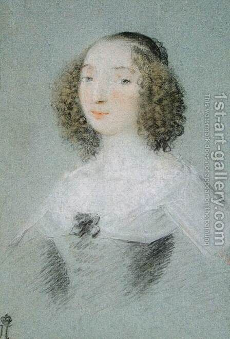 Portrait of Henriette-Marie de Buade-Frontenac by Claude Mellan - Reproduction Oil Painting
