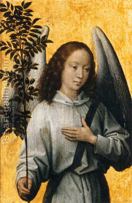 Angel with an Olive Branch, Emblem of Divine Peace by Hans Memling - Reproduction Oil Painting