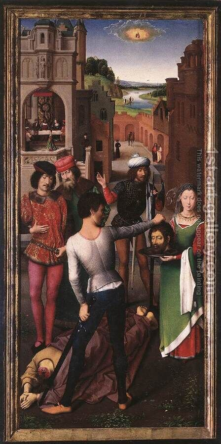 St John Altarpiece (left wing) 2 by Hans Memling - Reproduction Oil Painting