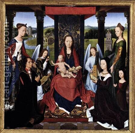 The Donne Triptych (centre panel) 2 by Hans Memling - Reproduction Oil Painting
