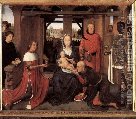 Triptych of Jan Floreins (central panel) by Hans Memling - Reproduction Oil Painting