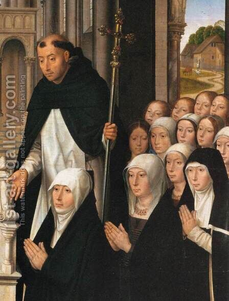 Virgin and Child with Sts James and Dominic (detail) 2 by Hans Memling - Reproduction Oil Painting