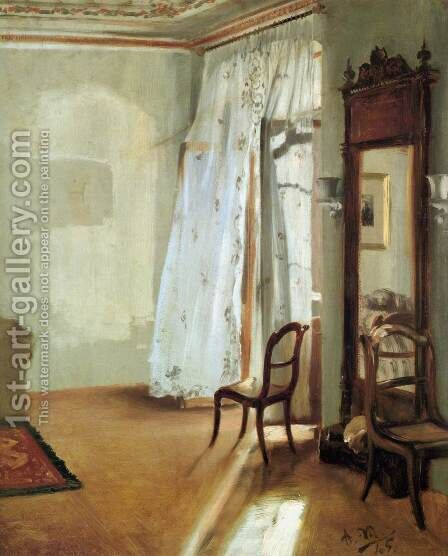 Interior of a Room with Balcon by Adolph von Menzel - Reproduction Oil Painting