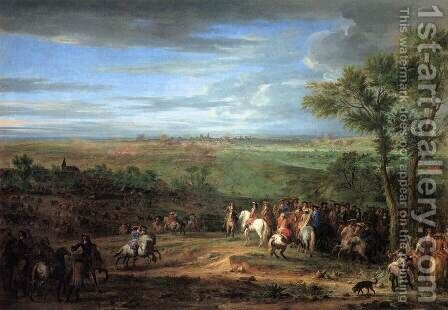 Louis XIV Arriving in the Camp in front of Maastricht by Adam Frans van der Meulen - Reproduction Oil Painting