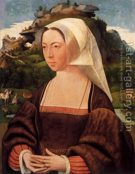 Portrait of a Woman by Jan Mostaert - Reproduction Oil Painting
