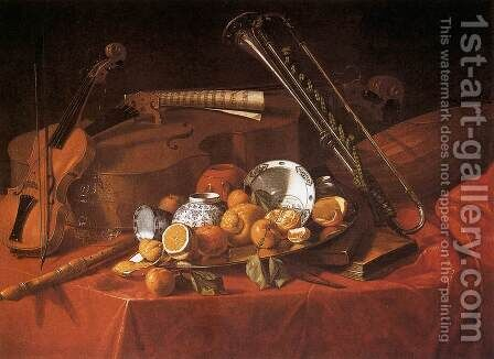 Still-Life with Musical Instruments by Cristoforo Munari - Reproduction Oil Painting