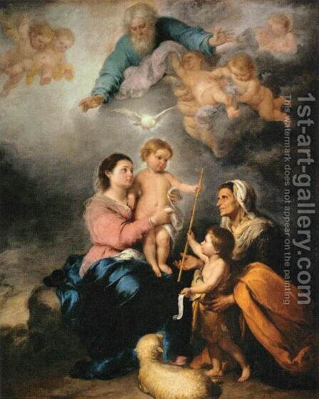 The Holy Family (The Seville Virgin) by Bartolome Esteban Murillo - Reproduction Oil Painting